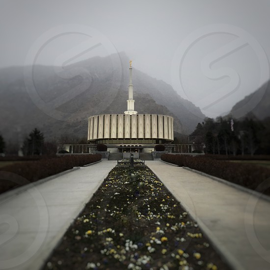 Architecture temple sacred mountain mountains lines fog cloudsbuilding evening gray path photo