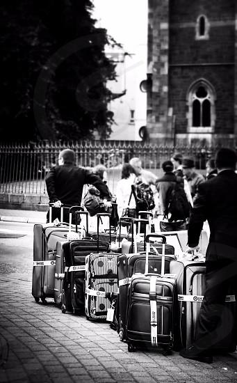 black leather luggage bag photo