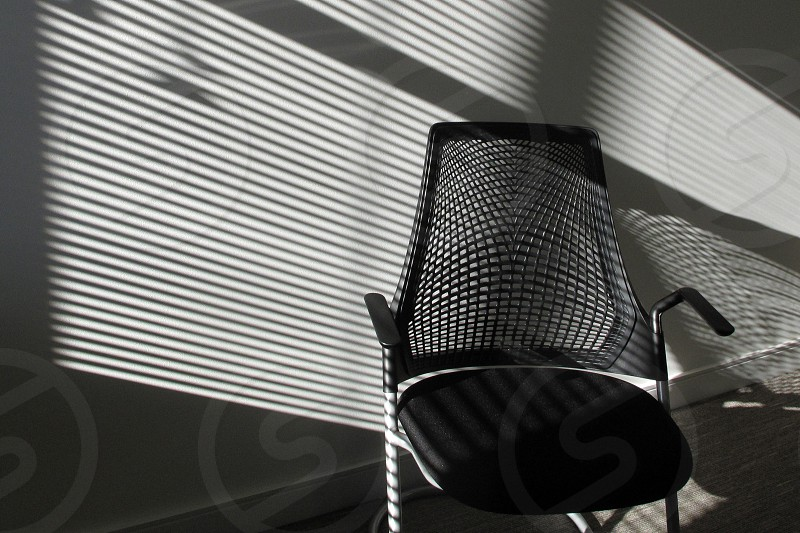 Chair shadow black white armrest office seat cushion photo