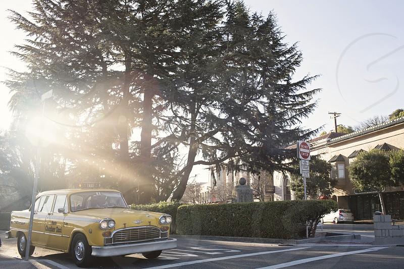 San Francisco California USA travel transport taxi yellow car golden light tourism. photo