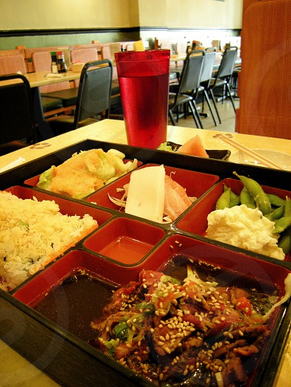 Bento box with beef bulgogi photo