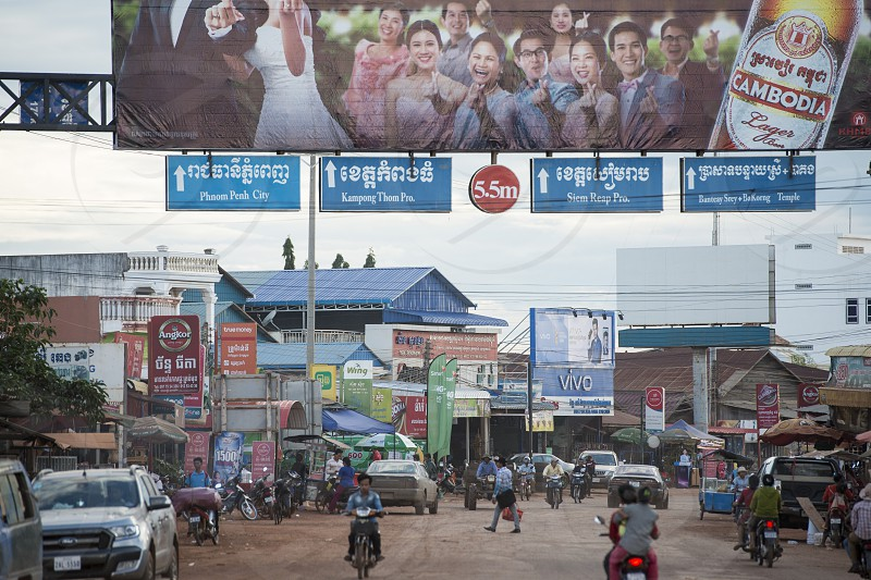 the city centre of the Town of Anlong Veng in the province of Oddar Meanchey in Northwaest Cambodia.  Cambodia Anlong Veng November 2017 photo