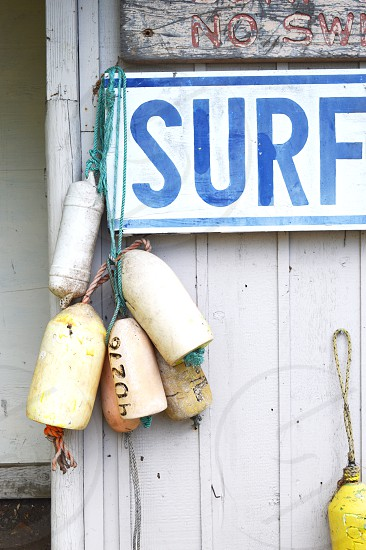 several boat fenders hanged on white wall with Surf signage photo