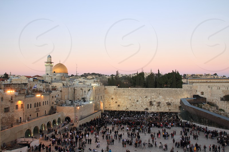A view at dusk of the Western Wall and Dome of the Rock in Jerusalem. photo
