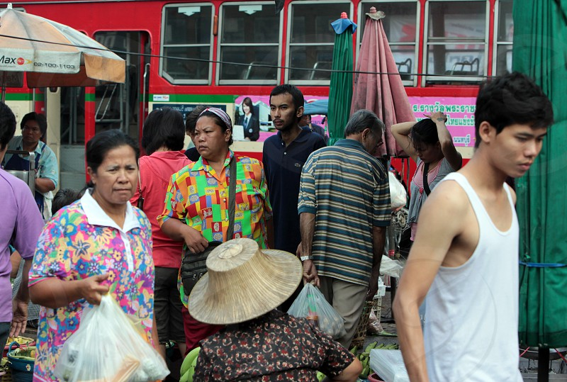 people at the foodmarket at the Morningmarket in Nonthaburi north of the city of Bangkok in Thailand in Suedostasien. photo