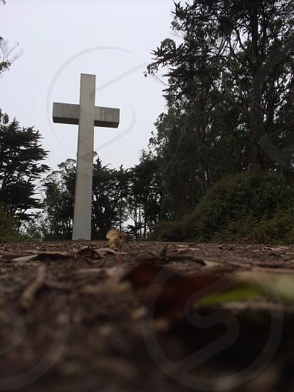 white concrete cross near trees during daytime photo