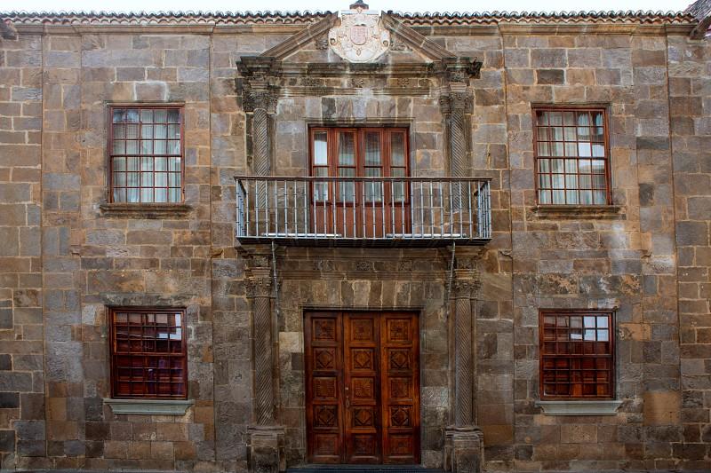 Santa Cruz de La Palma colonial street house facades in canary Islands photo