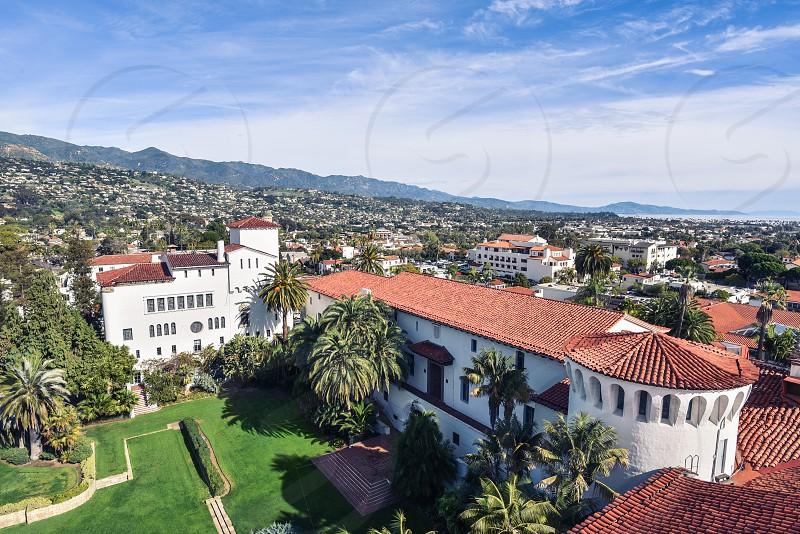 santa barbara courthouse spanish red tile american riviera california photo