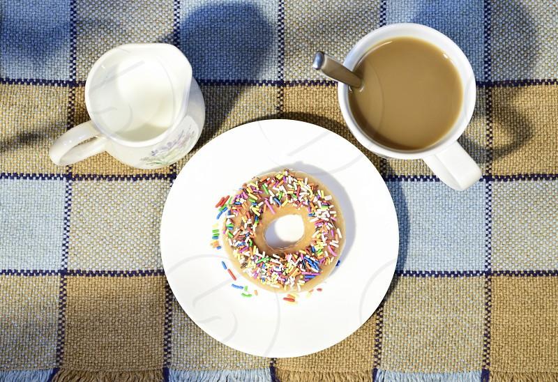 Breakfast flatlay breakfast donut coffee coffee and donut coffee and doughnut coffee and sweets coffee and dessert morning donut flatlay doughnut flatlay  photo