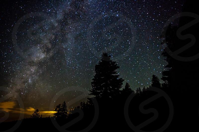 Lake Tahoe Milky Way galaxy trees silhouette photo