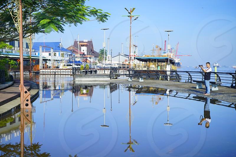 Reflection landscape town harbour water front city photo