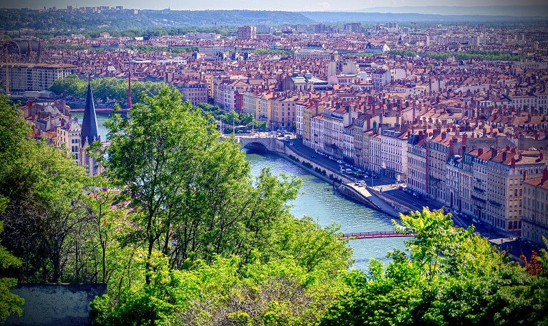 An aerial view of Lyon France and the Saone River during morning hours. photo
