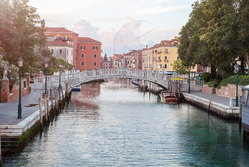 Picture of Accademia's bridge above Canal Grande. Sunset. Venice Italy. photo