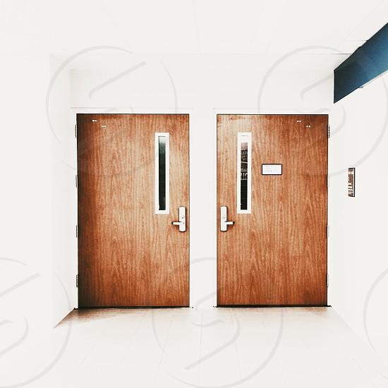 2 brown wooden door photo
