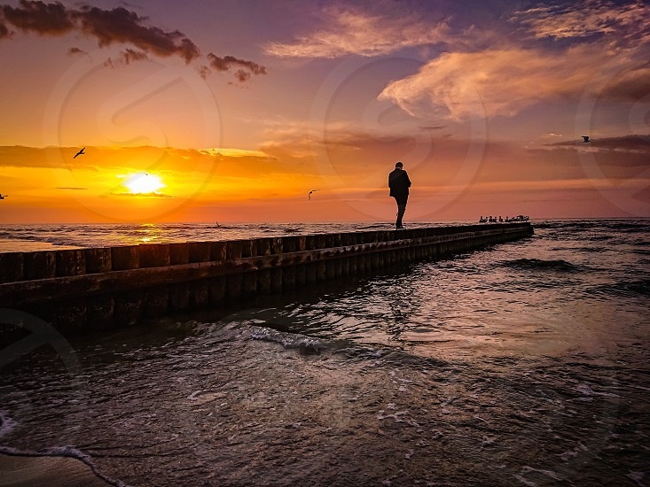 sea sunset sun trip seascape nature baltic photo