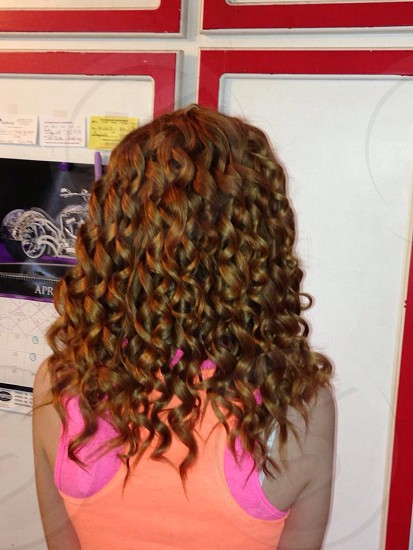 Red hair curls style  photo