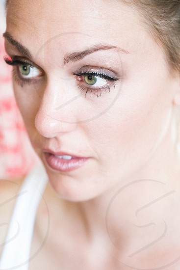 bride portrait green eyes photo