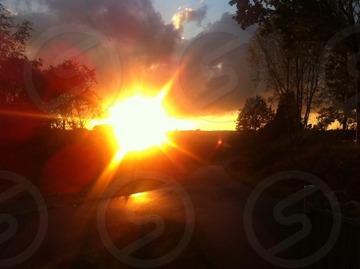 Autumn Sunset. The sun sets over the West Pennine Moors photo