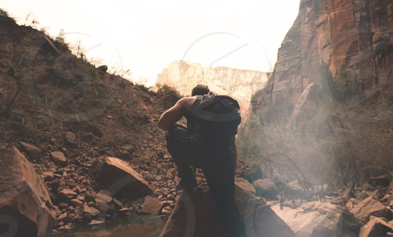 Zion national park Utah explore backpacking trial running hiking wanderlust travel angels landing  photo