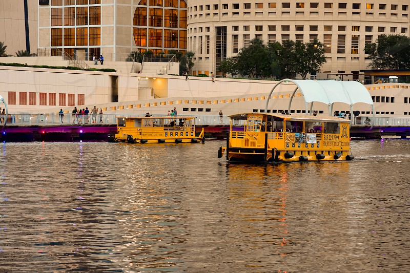 Tampa Bay Florida. January 19  2019  Water Taxis in Hillsborough River at downtown area . photo