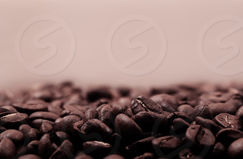Very warm picture of coffee beans background color corrected as old photo in beautiful sepia style. With copyspace for your text. photo
