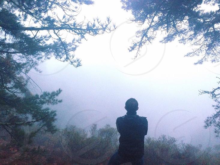 man in mountain view photo photo