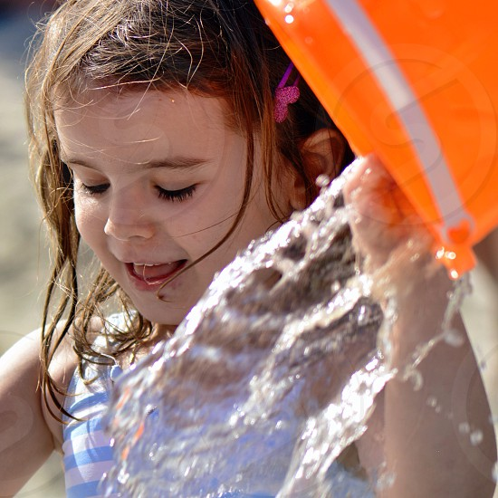 Playing with water - girl - water - summer - beach - Fun  photo