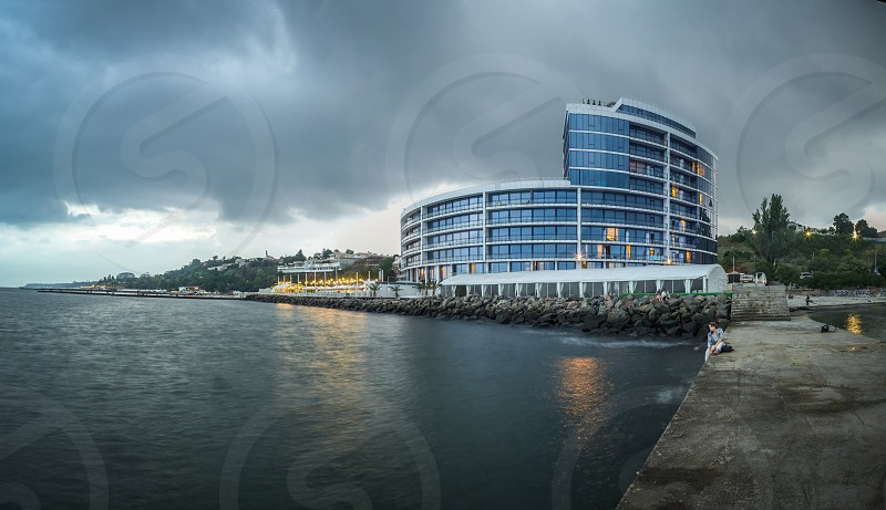 ODESSA UKRAINE - 27.07.2018. Maristella marine residence on 10th station of the Big Fountain in a summer evening. Panorama view. photo