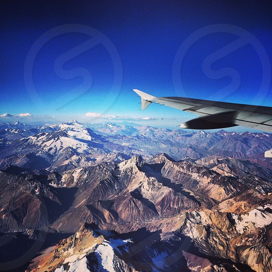 Flying over the Andes mountains  photo