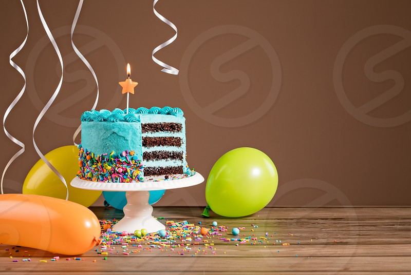 Astounding Chocolate Birthday Cake With Blue Buttercream Icing And Colorful Funny Birthday Cards Online Elaedamsfinfo
