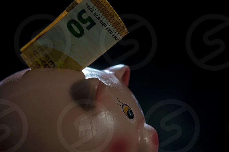 fifty euro piggy bank photo