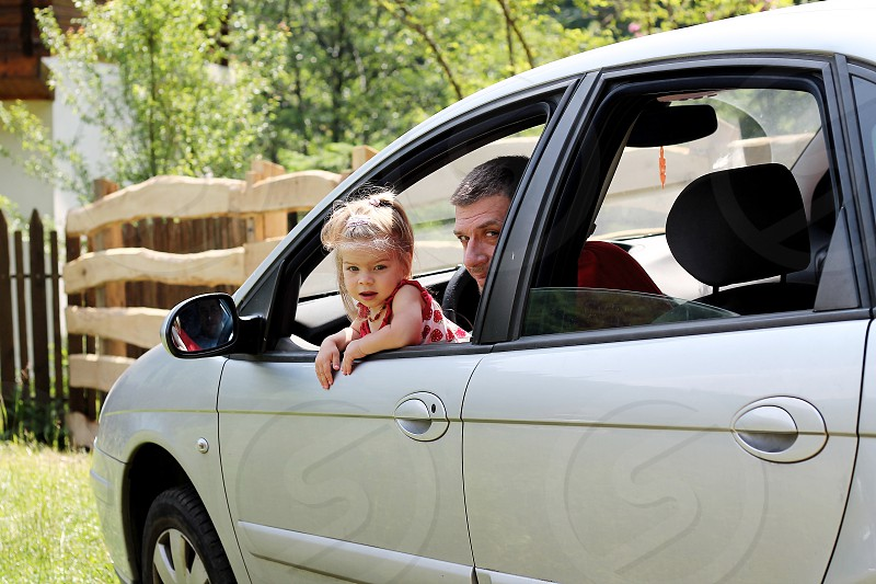 father daughter family car time joy happy nature photo