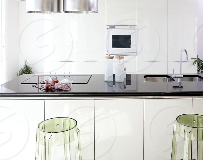 Modern white kitchen clean interior design deco architecture photo