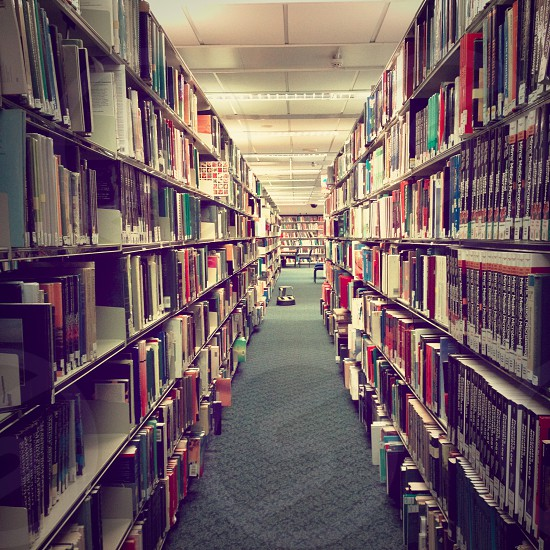 Books in a university library photo
