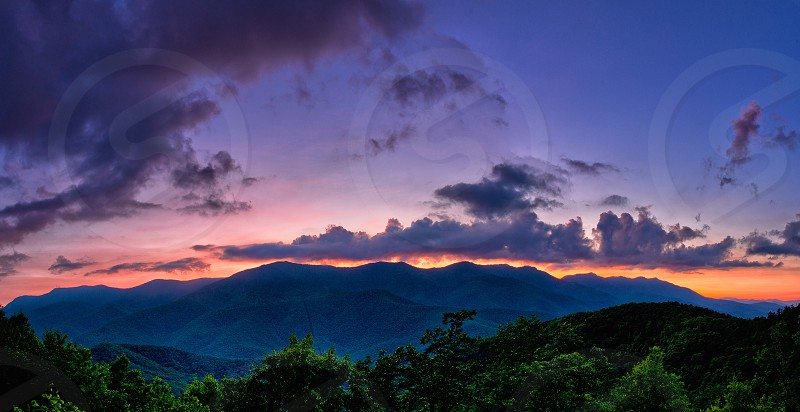 High resolution photostitched panoramic of Sunset in the North Carolina Mountains. photo