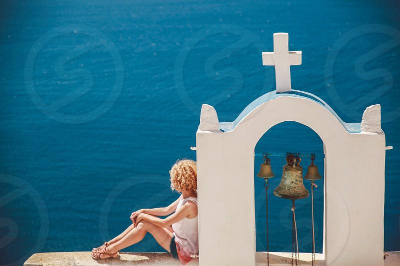woman outdoor Santorini photo