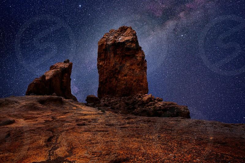 Gran canaria roque nublo in night stars light photo mount photo