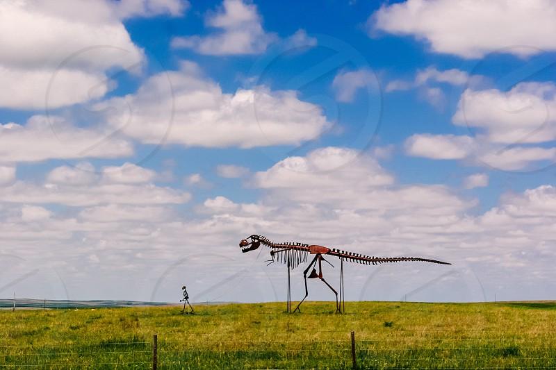 Walking a dinosaur South Dakota photo