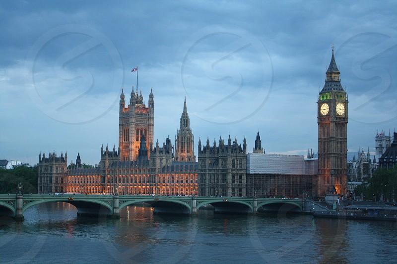 London England Parliament Big Ben Dusk photo