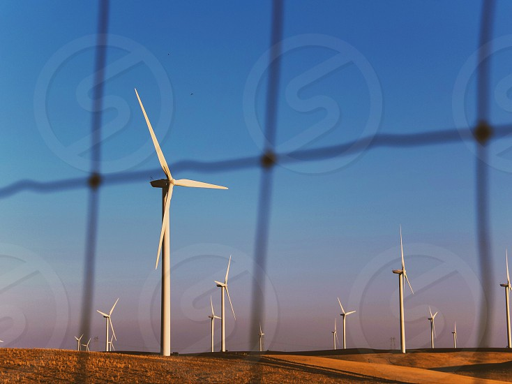 white wind turbines on brown grass field during daytime photo