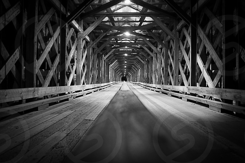 Old bridge in B&W photo
