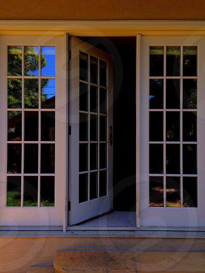 white wooden framed glass door photo