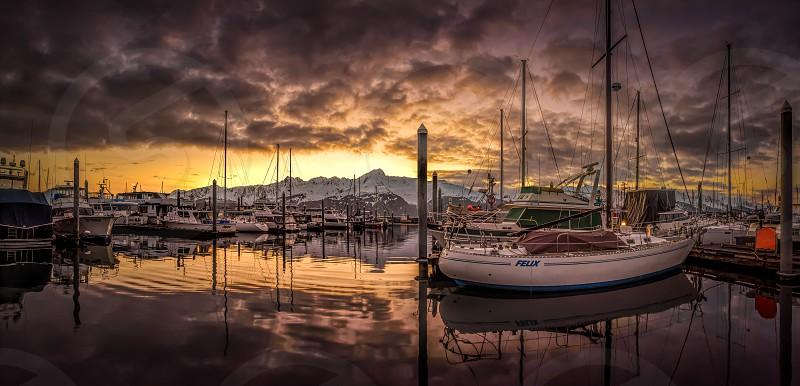 sunrise Seward Alaska Felix harbor boats photo