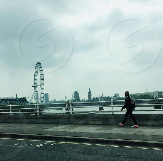 London man running cityscape  photo