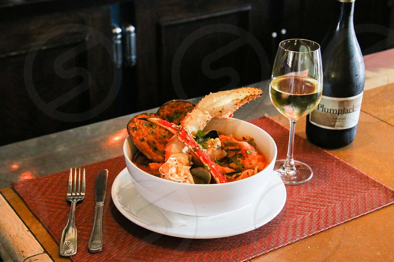 Cioppino and Plumpjack wine - horizontal 1 photo