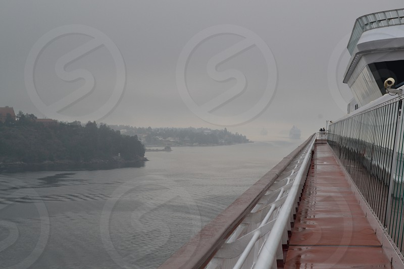 travel sea cruise boat foggy photo