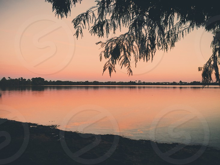Ethereal sunset on a lake photo