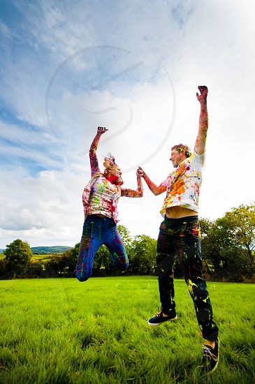 Jump   Paint fight Engagement Shoot photo