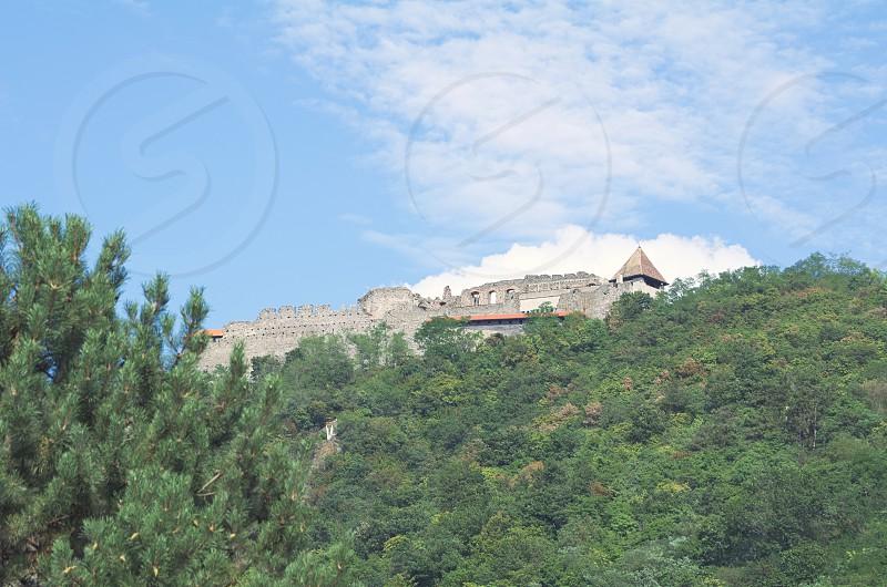 Visegrad Castle on a Sunny Summer Day Closeup photo