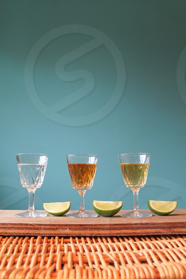 three flavoured tequila shots glasses photo